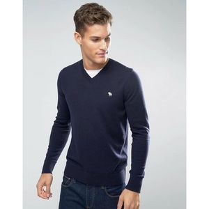 ABERCROMBIE & FITCH V Neck Sweater in Navy